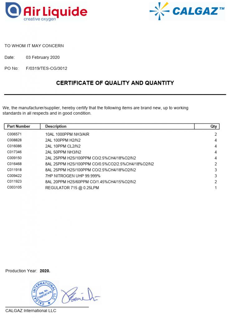 Calgaz CQ Quality Certification