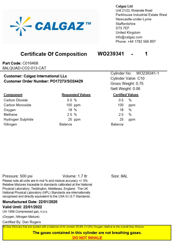Calgaz UK Gas Composition Certification